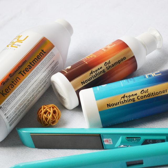 Venta caliente alisado del cabello queratina y Marruecos champú de aceite de argán y el cuidado del cabello acondicionador de envío gratis