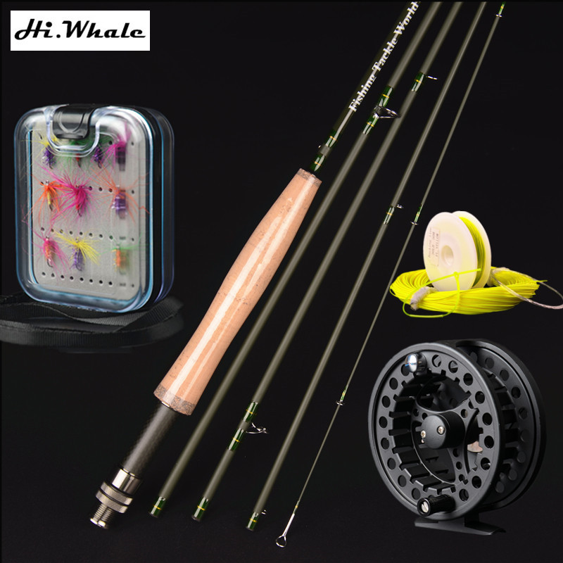 New high carbon fly rod 2.7 m line wt 5-6# 5 section fly fishing rod combo set fishing tackle new high carbon 2 7 m line wt 5 6 5 section fly fishing rod combo set fly rod fly reel fly line hook fishing tackle fishing rod