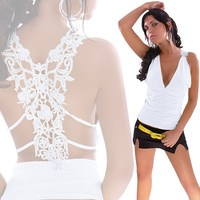 черный / белый горячая распродажа дамы камзол сексуальная рюшами шея в с сексуальная вышивка выдалбливают белый черный женщин жилет топ