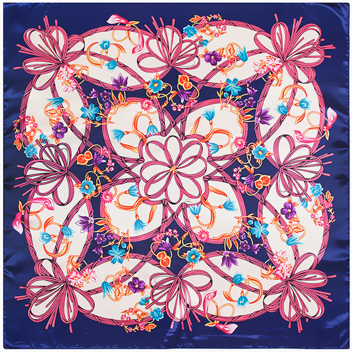 Bowknot Flower Scarf Silk Feeling 90cm Scarves Match Apparel font b Accessory b font Woman Girl