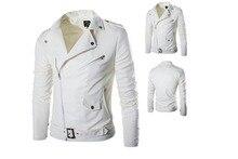 Европа и Соединенные Штаты для мужчин's locomot pu куртка черный, белый цвет 2XL 3XL Весна и зима модные тонкие мотоциклетные мыть кожаная