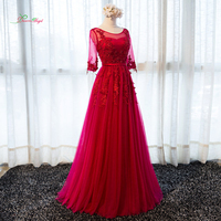 Dream Angel Sexy Backless Red Long Lace Evening Dresses 2017 Appliques Beading Formal Dress For Party