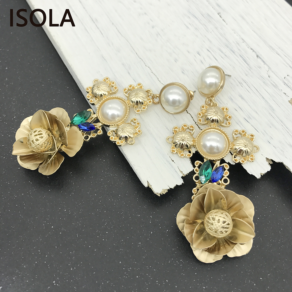 ISOLA Elegant Cross Baroque Earrings Hanging Engraved Flowers Embellished  With Simulated Pearl And Rhinestone Dangle Earrings-in Drop Earrings from  Jewelry ... 9bd9c7832fb0