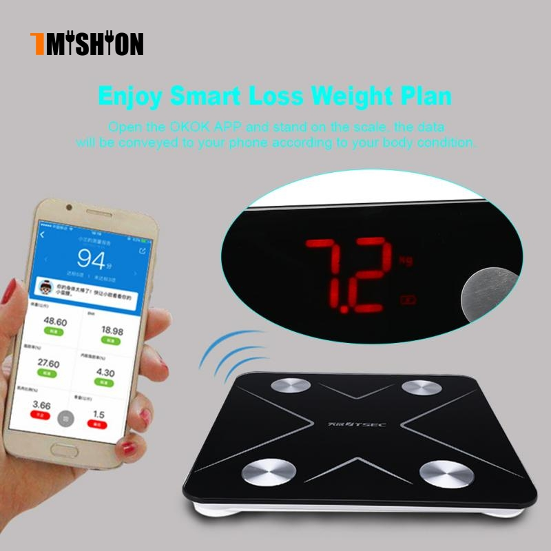 Smart Bluetooth Weight Scale Body Fat BMI Body Composition Measurements Digital LED Scale компрессор для шин oem 12v infaltor 300 psi