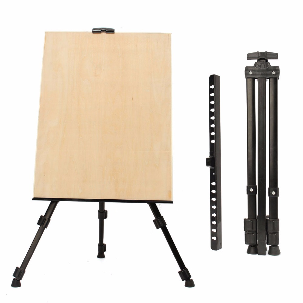 Top Quality Adjustable Metal Folding Painting Easel Frame Artist Painting Adjustable Tripod Display Stand Shelf with Carry Bag D 40cm mini artist wooden table folding painting easel frame adjustable tripod display shelf outdoors studio display frame act012