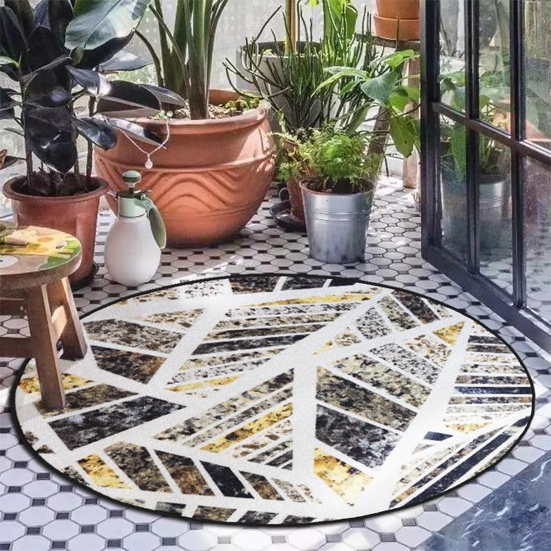 Original ins marbré tapis rond style pastorale tapis rond canapé table basse floormat ordinateur chaise coussin suspendu panier tapis