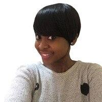 Amir synthetische korte pruiken voor zwarte vrouwen zwart steil haar pruik met pony Volledige Afro-amerikaanse Korte Haar
