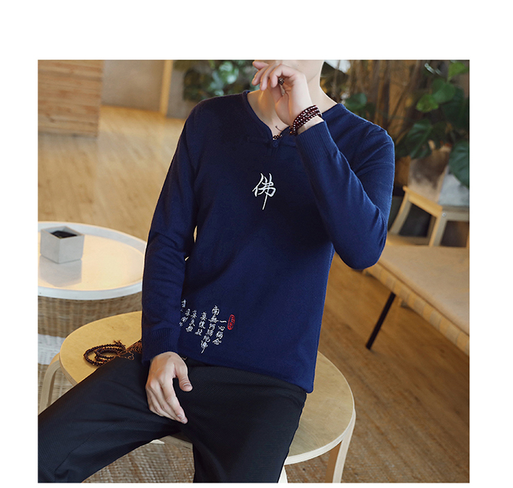 Chinese style Buddha embroidery Pull Homme Pullover Men spring autumn Casual sweater knit leisure Jersey Hombre Cotton v-neck 84