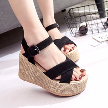 New Arrival Summer Buckle Women's Sandals PU Fish Mouth Fashion High Heel Platfo