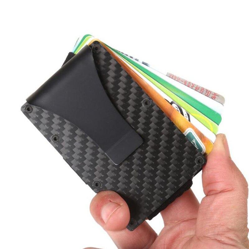 Porte-Carte de crédit homme dame Anti-blocage Rfid portefeuille Portable Porte-Carte d'identité Clip Porte Carte de voyage étui en métal