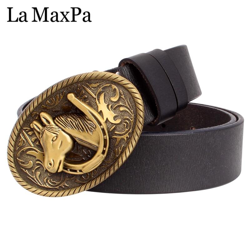 Fashion Men Belt Horse Buckle Belt Golden Horse Head Pattern Horseshoe Cow Skin Leather Belt Cowboy Accessories