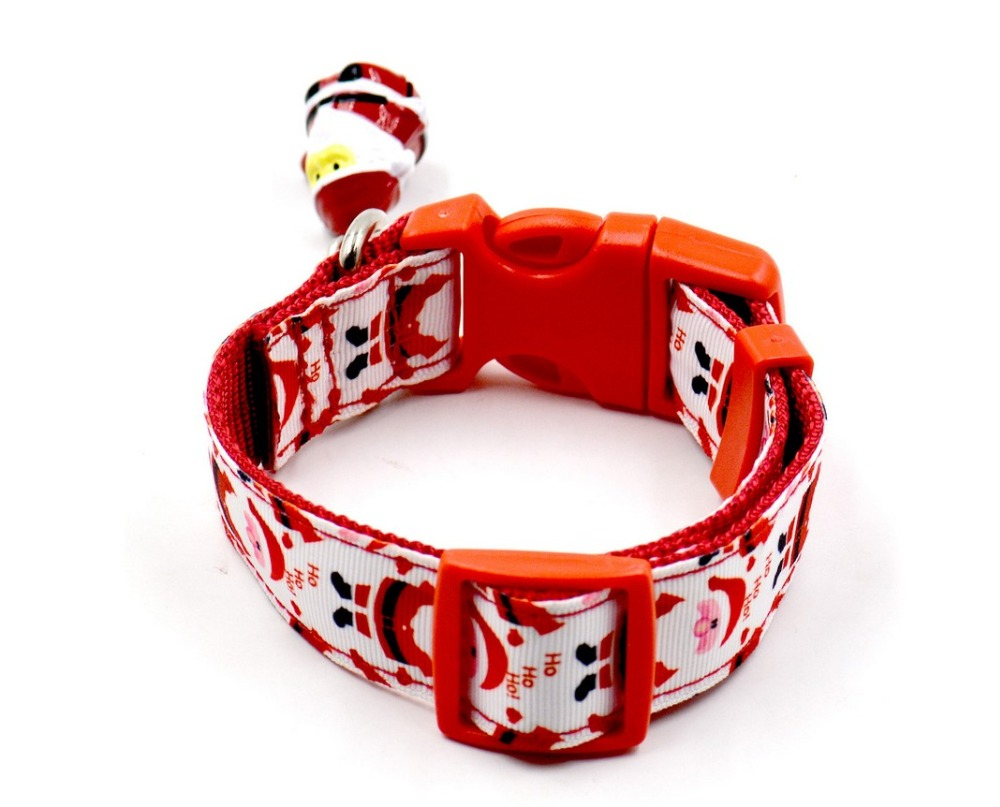 2016 New arrival red colorful Christmas Pet Collar Dog Collar Pet Bell Collar Pet leash 5 piece free shipping hot sale