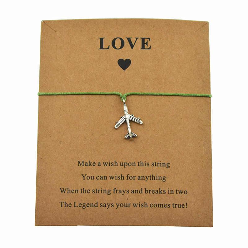 Moda prata avião charme fazer um desejo amor cartão pulseiras ajustáveis para mulheres homens aeronaves jóias presentes de natal