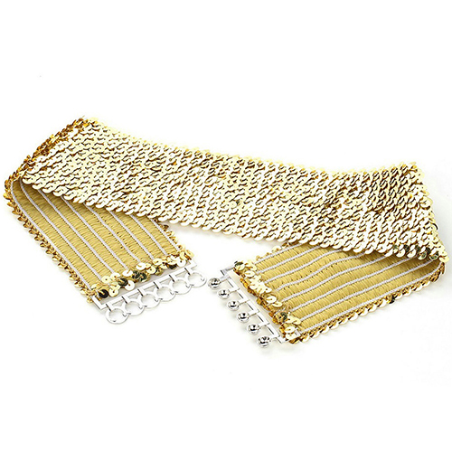 2017 New Punk Women Sparkling Stretch Sequins Wide Waist Strap Waistband Belt Accessory