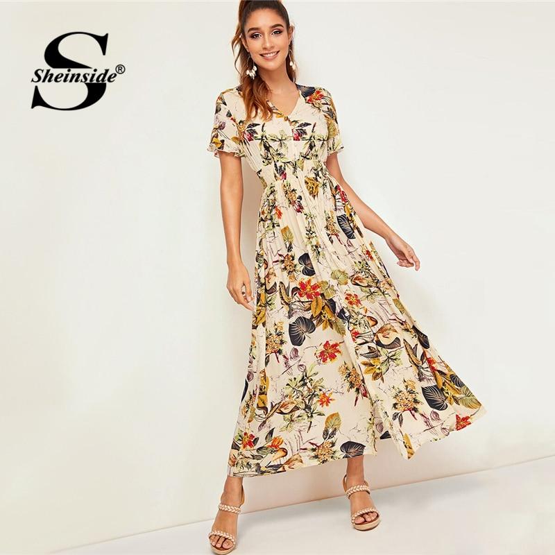 Sheinside Boho Tropical imprimer chemise robe femmes 2019 été à manches courtes cordon élastique taille robes dames robe plissée