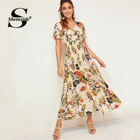 Sheinside Boho Tropical Print Shirt Dress Women 2019 Summer Short Sleeve Drawstring Elastic Waist Dresses Ladies Pleated Dress