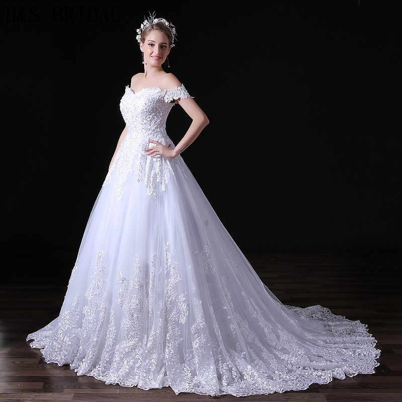 H & S כלה תחרה טול כדור שמלת חתונה עם רעלה מכתף קיץ כלה שמלת נצנצים robe mariee 2019 boho dentelle