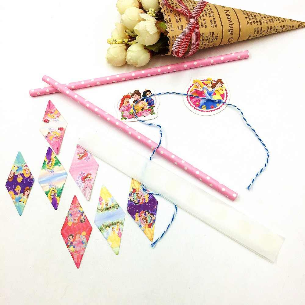 Princesa festa suprimentos cupcake topper inserir cartão bunting bandeiras picaretas crianças festa de aniversário chá de fraldas decoração do bolo