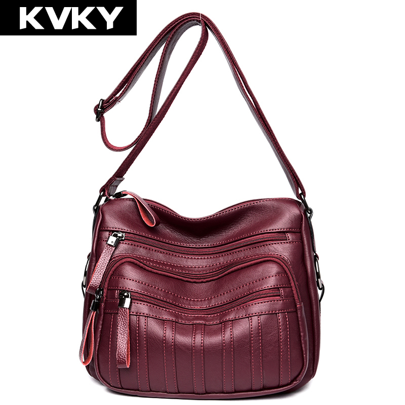KVKY Brand Fashion Women Shoulder Bags PU Leather Women Handbags Ladies Crossbody Bags Female Single Messenger Bags Bolsos women shoulder bags leather handbags shell crossbody bag brand design small single messenger bolsa tote sweet fashion style