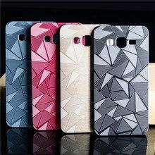 3d diamante caso escova de metal de alumínio + pc material duro para samsung galaxy grand prime g530 g530h g531 g531h tampa da caixa de telefone