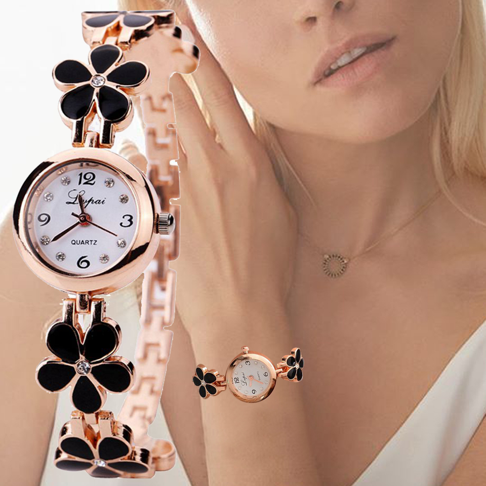 Lvpai Brand Luxurious Crystal Gold Ceasuri de mână Femeile de moda brățară Quartz ceasuri de mână stras Ladies Fashion Watch Dropshiping