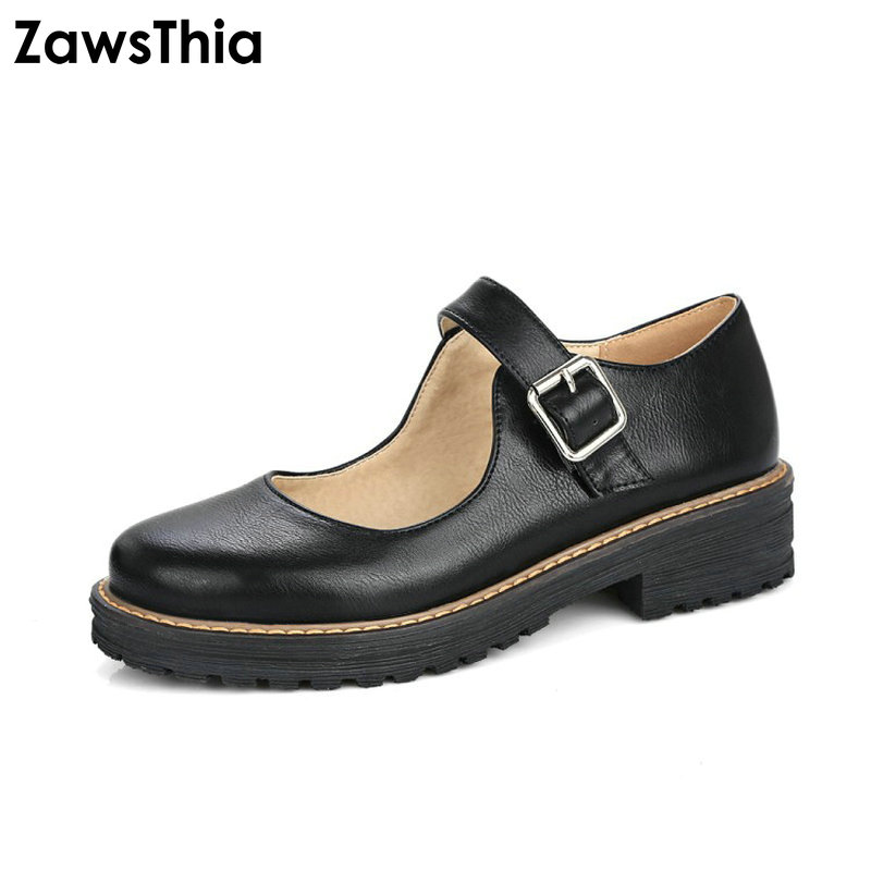 ZawsThia New Mary Janes Shoes Women Round Toe Slip On Casual Comfort Student Shoes Ladies Buckle Strap Flat Shoes Sweet Footwear