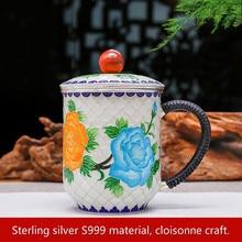 Mug Cup Pure Silver 999 Handicraft Enamel Teapot Cloisonne Tea cup Kung fu set