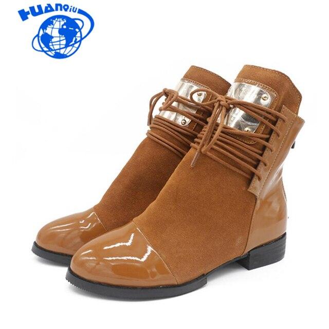HUANQIU Kadın Çizmeler Hakiki Deri yarım çizmeler Bayan Motosiklet Çizmeler Sonbahar Ayakkabı Kadın Kış Patent deri Wyq148