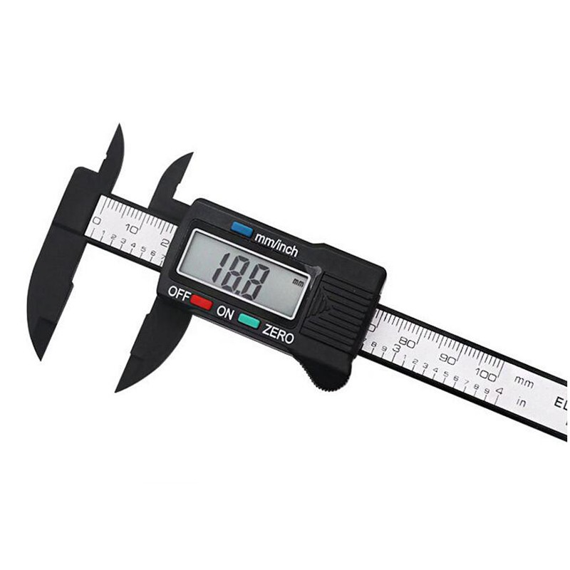 0 150mm vernier Caliper electronic digital plastic calipers ruler measuring tools LCD display diameter carbon fiber 1 5V battery in Calipers from Tools