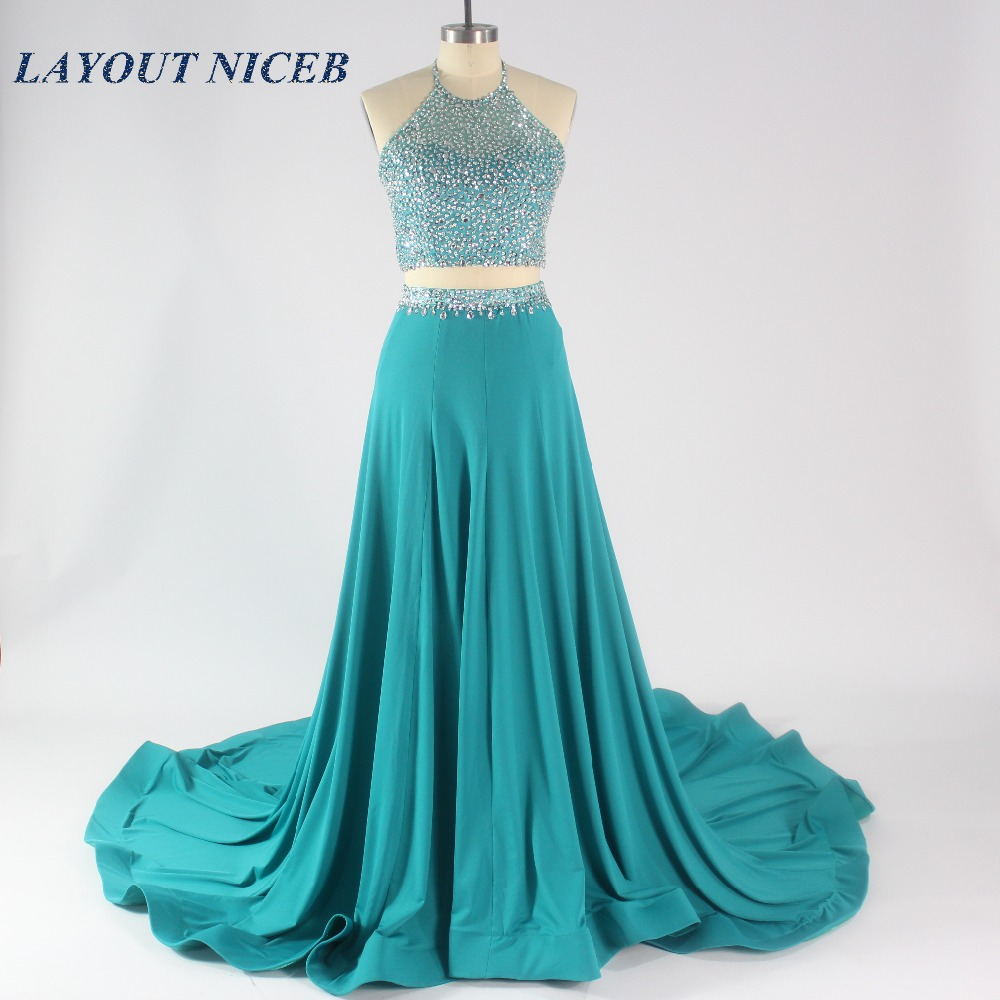 2017 Charming Two Pieces Prom Dresses Sexy Open Back A Line Halt ...