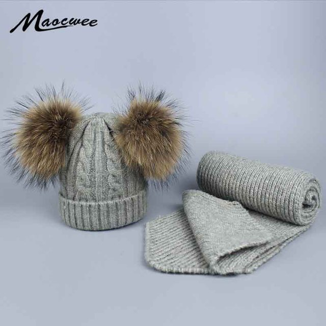 ce846cdc4fba7 Children s Hat and Scarf for Baby Autumn Winter Warm Hats Balaclava Women  Knit Crocheted Wool Hats
