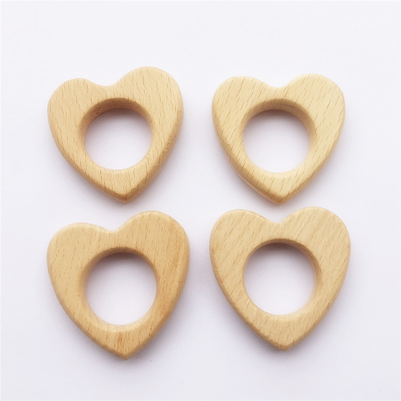 10pcs Heart Wooden Teether Nature Baby Rattle Teething Grasping Toy DIY Organic Eco-friendly Wood Teething Accessories