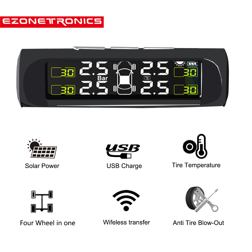 Hot Car Solar Wireless TPMS Tire Pressure Monitor System+4 Sensors LCD Display