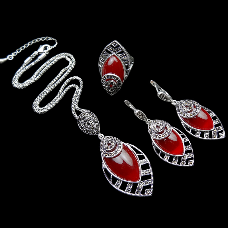HENSEN Jewellery New Arrival Vintage Silver Plated Resin And Retro Crystal Fashion Red Jewelry Set For