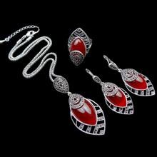 Joyería Nueva Llegada de La Vendimia Plateado Resina HENSEN Y Retro Cristal Rojo Moda Sistema de La Joyería Para Las Mujeres Regalos de Navidad