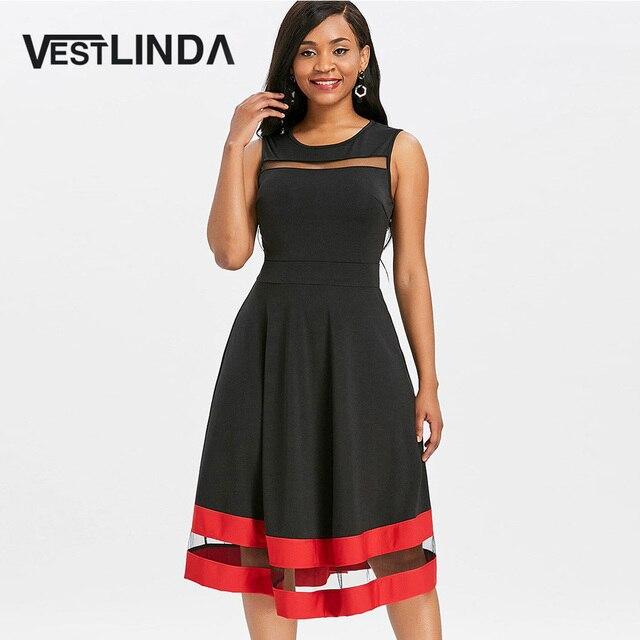 VESTLINDA Sheer Mesh Insert Contrast Trim A Line Midi Skater Dress Women  Summer O Neck Sleeveless Black Date Dress Vestidos Robe 74714d9c6