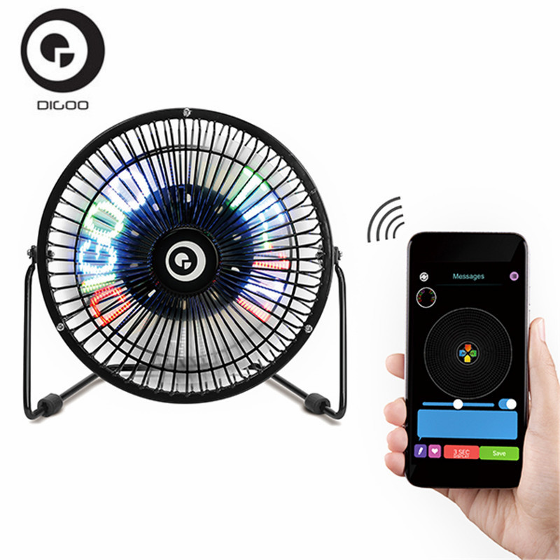 Digoo DG-TF111 DIY 6 Inch USB LED Light Metal Electrical Rotatable Clock Fan Colorful Display Bluetooth Connect with APP Control цена 2017