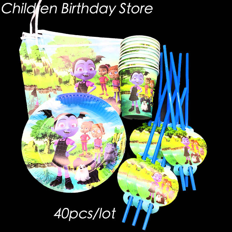 40pcs/lot Vampirina party set kids birthday party decorations Vampirina theme disposable tableware Vampirina plates cups straws