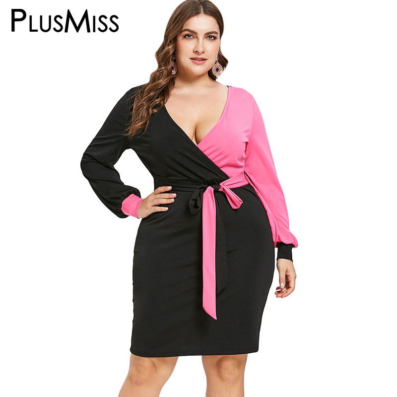 9bffe800c3c PlusMiss Plus Size Patchwork Bodycon Sexy Evening V Neck Party Dresses 5XL  XXXXL XXXL XXL Women