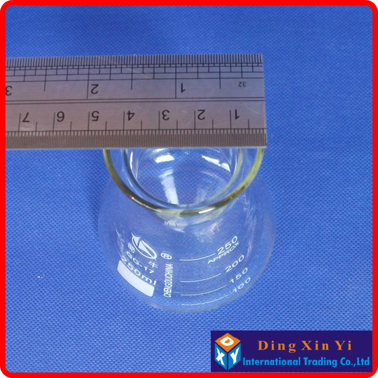 (10pcs/lot)250ml Glass Erlenmeyer Flask 250ml glass conical flask Laboratory use glass t ...