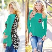 2017 autumn and winter new women's fashion knitting stitching leopard chiffon long sleeve round T-shirt base wild