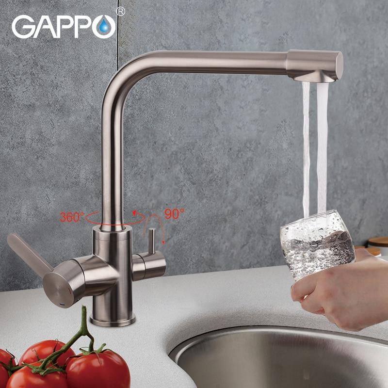 Torneiras de Cozinha com água filtrada GAPPO inoxidável torneiras torneira da cozinha mixer sink cachoeira griferia torneiras de água potável