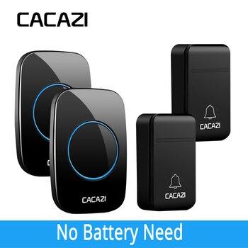 CACAZI auto-alimentado timbre inalámbrico inteligente sin batería a prueba de agua 200 m remoto LED casa llamada campana 38 anillos 3 Volumen 2 receptores