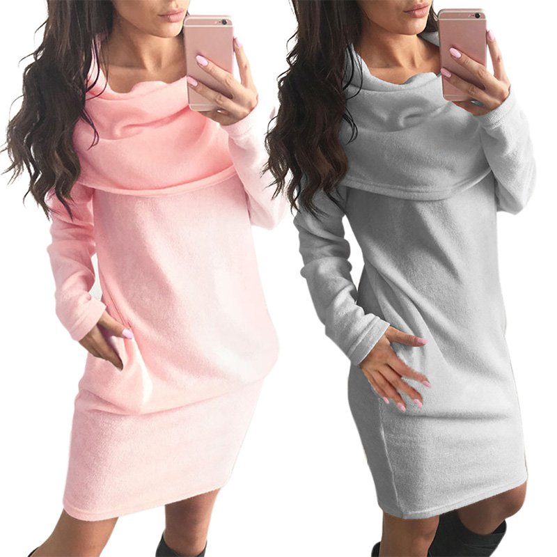 Womens Fashion Design Loose Full Solid Sleeve Turn-Down Collar Solid Mini Knit Dress New Sale H7