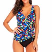 Low Back Swimsuit Plus Size Women Swimwear Large Sizes Leaf Print Swimming Suit 1 Piece Plunge Badpak 2019 String Colorful 4XL