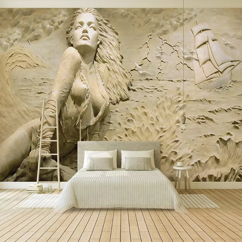 European Gold 3D Embossed Seaside Sexy Beauty Mural Wallpaper For Walls 3 D Living Room TV Background Decorative Wall Covering