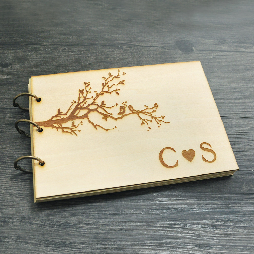 wedding guest booka4 sizepersonalized rustic guestbook wood guest book bridal shower gift memory album engraved initials in signature guest books