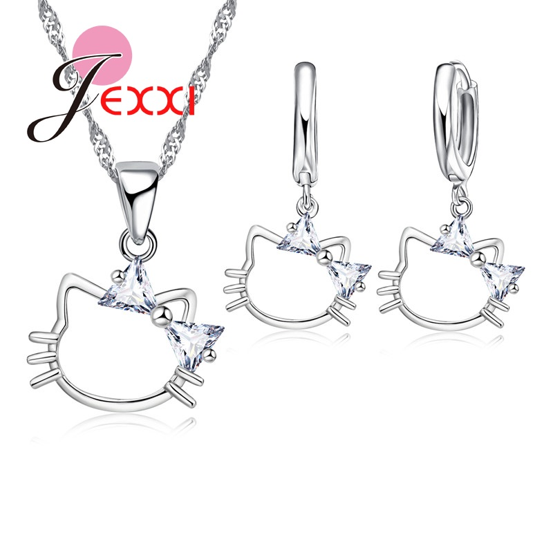 Jemmin Fashion Lovely Kitty Pendant Necklace Earrings 925 Sterling Silver Woman Jewelry Set Best Friend Birthday Party Gift
