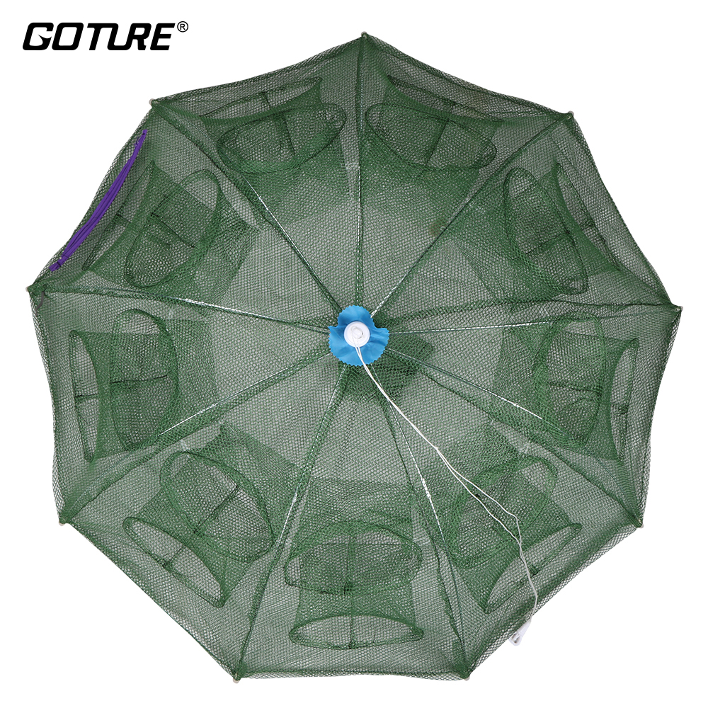 Goture Automatische Fischernetz Shrimp Cage Nylon Faltbare Krabbenfischfalle Cast Net Cast Folding Fishing Network