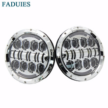 FADUIES Auto Chrome 7 Inch Round Led Headlight With DRL+Yellow turn signal for Wrangler Jk TJ Land rover defender Led Headlight